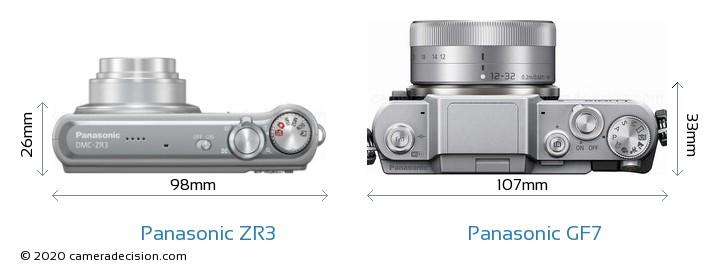 Panasonic ZR3 vs Panasonic GF7 Camera Size Comparison - Top View