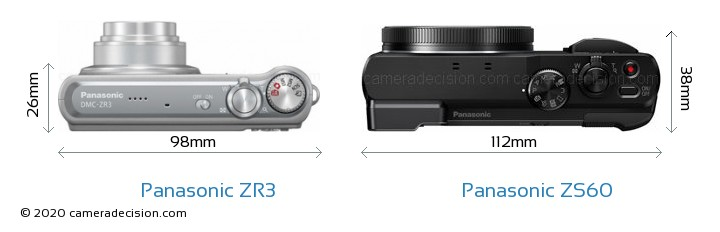 Panasonic ZR3 vs Panasonic ZS60 Camera Size Comparison - Top View