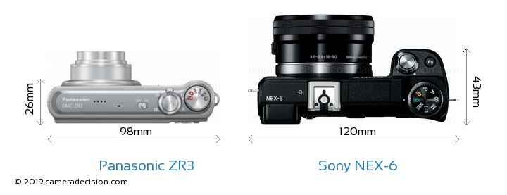 Panasonic ZR3 vs Sony NEX-6 Camera Size Comparison - Top View