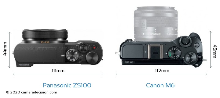 Panasonic ZS100 vs Canon M6 Camera Size Comparison - Top View