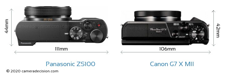 Panasonic ZS100 vs Canon G7 X MII Camera Size Comparison - Top View