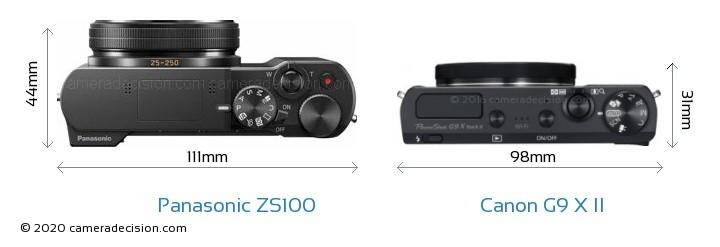 Panasonic ZS100 vs Canon G9 X II Camera Size Comparison - Top View