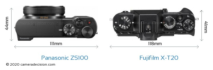 Panasonic ZS100 vs Fujifilm X-T20 Camera Size Comparison - Top View