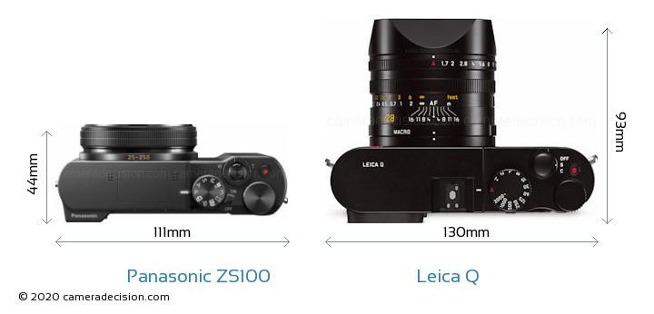 Panasonic ZS100 vs Leica Q Camera Size Comparison - Top View