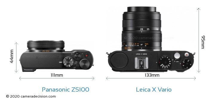 Panasonic ZS100 vs Leica X Vario Camera Size Comparison - Top View