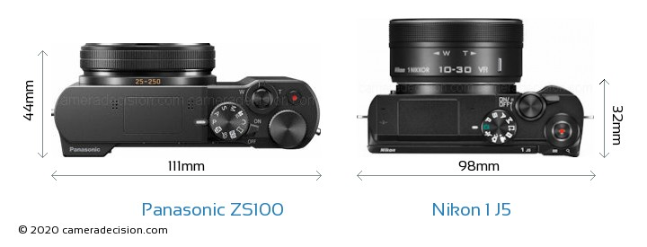 Panasonic ZS100 vs Nikon 1 J5 Camera Size Comparison - Top View
