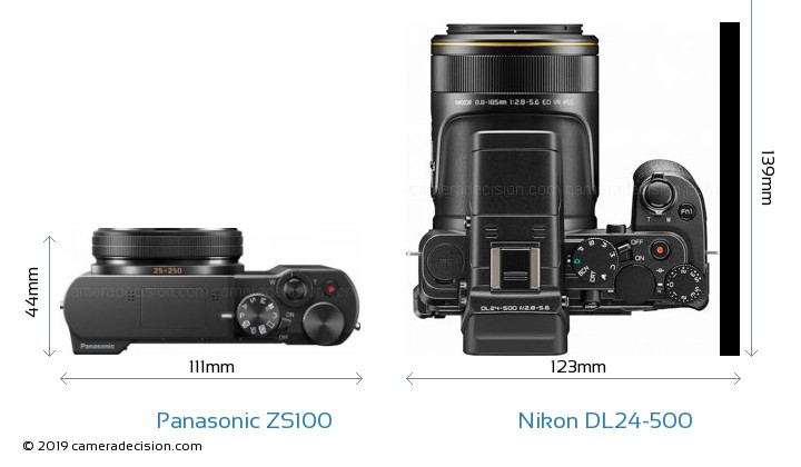 Panasonic ZS100 vs Nikon DL24-500 Camera Size Comparison - Top View