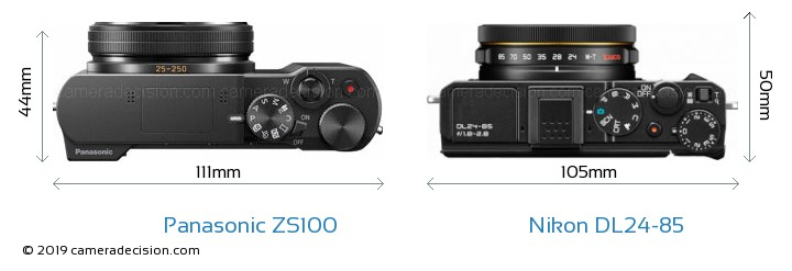 Panasonic ZS100 vs Nikon DL24-85 Camera Size Comparison - Top View
