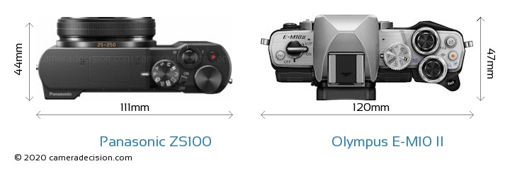 Panasonic ZS100 vs Olympus E-M10 II Camera Size Comparison - Top View