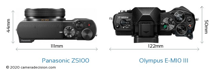 Panasonic ZS100 vs Olympus E-M10 MIII Camera Size Comparison - Top View