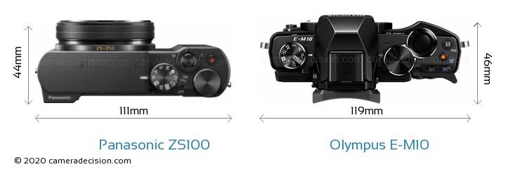 Panasonic ZS100 vs Olympus E-M10 Camera Size Comparison - Top View