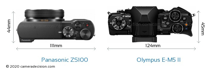 Panasonic ZS100 vs Olympus E-M5 II Camera Size Comparison - Top View