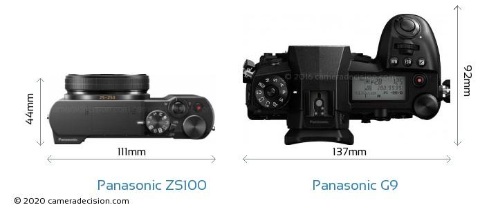Panasonic ZS100 vs Panasonic G9 Camera Size Comparison - Top View