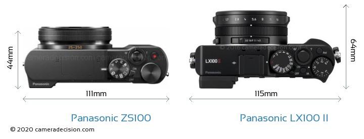 Panasonic ZS100 vs Panasonic LX100 II Camera Size Comparison - Top View