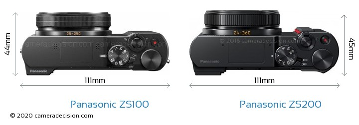 Panasonic ZS100 vs Panasonic ZS200 Camera Size Comparison - Top View