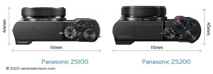 Panasonic ZS100 vs Panasonic ZS200 Camera Size Comparison - Top View
