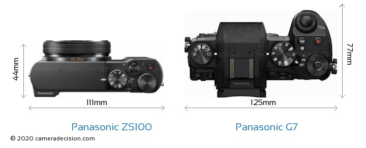 Panasonic ZS100 vs Panasonic G7 Camera Size Comparison - Top View