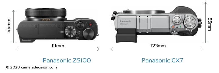 Panasonic ZS100 vs Panasonic GX7 Camera Size Comparison - Top View