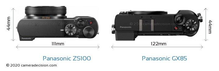 Panasonic ZS100 vs Panasonic GX85 Camera Size Comparison - Top View