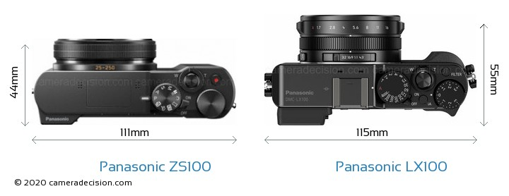 Panasonic ZS100 vs Panasonic LX100 Camera Size Comparison - Top View