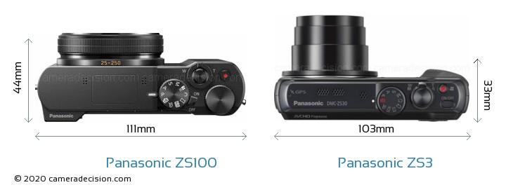 Panasonic ZS100 vs Panasonic ZS3 Camera Size Comparison - Top View
