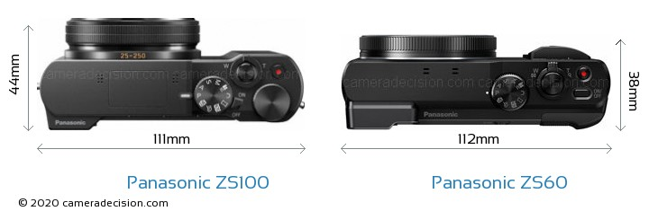 Panasonic ZS100 vs Panasonic ZS60 Camera Size Comparison - Top View