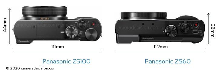 Panasonic ZS100 vs Panasonic ZS60 Camera Size Comparison - Top View