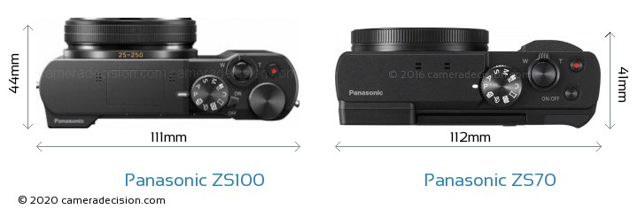 Panasonic ZS100 vs Panasonic ZS70 Camera Size Comparison - Top View