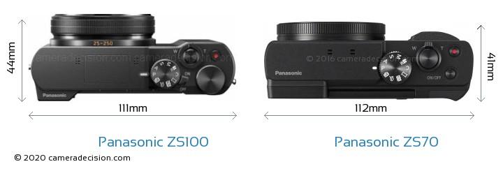 Panasonic ZS100 vs Panasonic ZS70 Camera Size Comparison - Top View