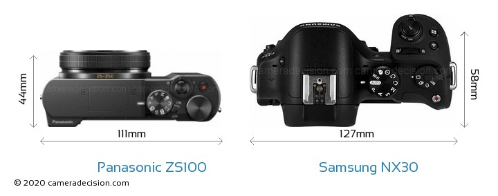 Panasonic ZS100 vs Samsung NX30 Camera Size Comparison - Top View