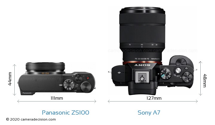 Panasonic ZS100 vs Sony A7 Camera Size Comparison - Top View
