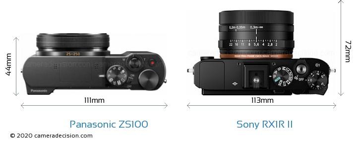 Panasonic ZS100 vs Sony RX1R II Camera Size Comparison - Top View