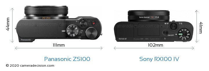 Panasonic ZS100 vs Sony RX100 IV Camera Size Comparison - Top View