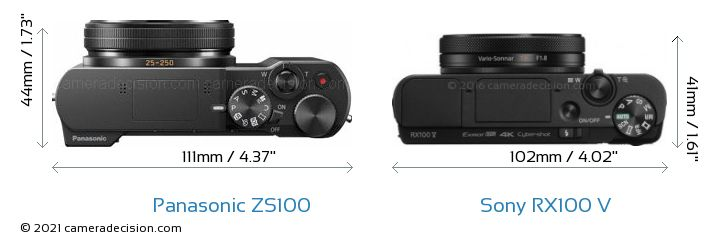 Panasonic ZS100 vs Sony RX100 V Camera Size Comparison - Top View