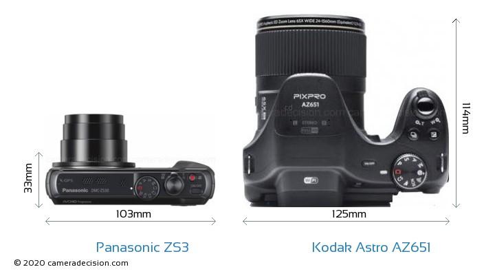 Panasonic ZS3 vs Kodak Astro Zoom AZ651 Camera Size Comparison - Top View