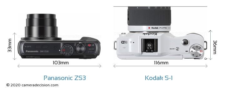 Panasonic ZS3 vs Kodak S-1 Camera Size Comparison - Top View