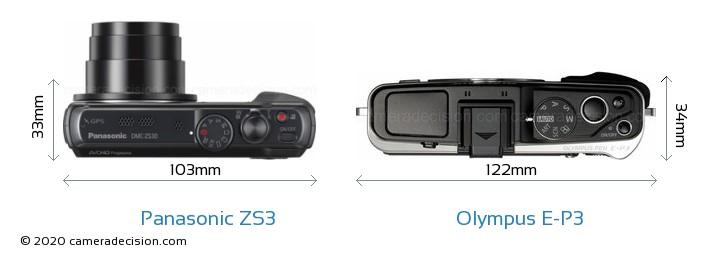 Panasonic ZS3 vs Olympus E-P3 Camera Size Comparison - Top View