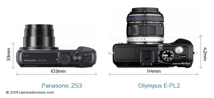 Panasonic ZS3 vs Olympus E-PL2 Camera Size Comparison - Top View