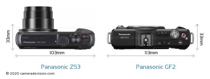 Panasonic ZS3 vs Panasonic GF2 Camera Size Comparison - Top View