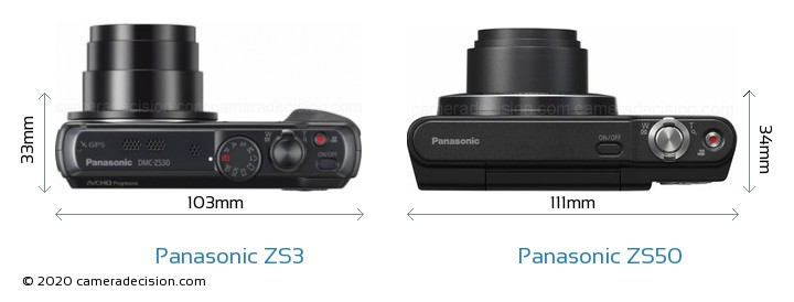 Panasonic ZS3 vs Panasonic ZS50 Camera Size Comparison - Top View