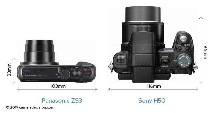 Panasonic ZS3 vs Sony H50 Camera Size Comparison - Top View