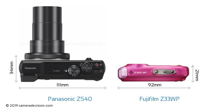 Panasonic ZS40 vs Fujifilm Z33WP Camera Size Comparison - Top View