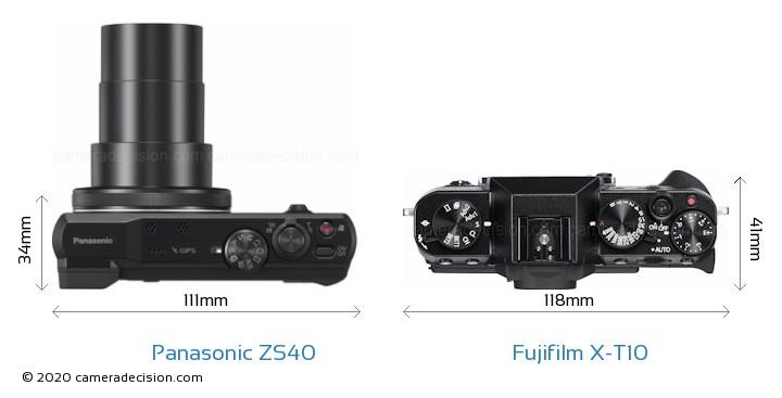 Panasonic ZS40 vs Fujifilm X-T10 Camera Size Comparison - Top View
