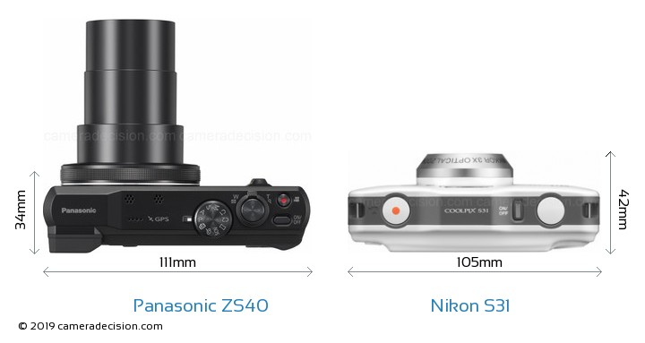 Panasonic ZS40 vs Nikon S31 Camera Size Comparison - Top View