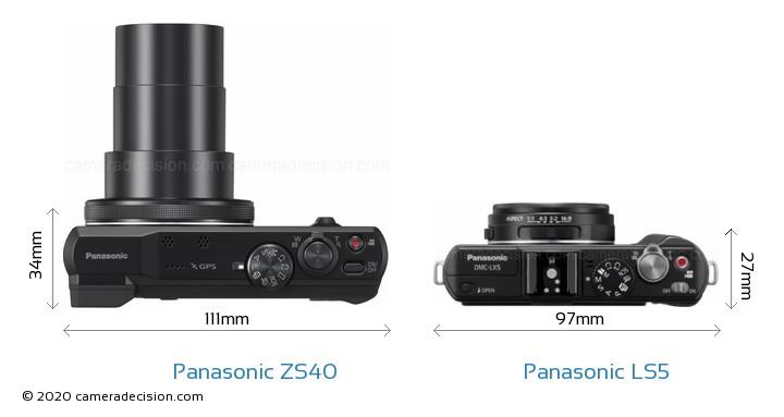 Panasonic ZS40 vs Panasonic LS5 Camera Size Comparison - Top View