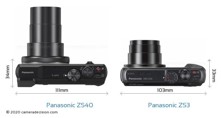 Panasonic ZS40 vs Panasonic ZS3 Camera Size Comparison - Top View