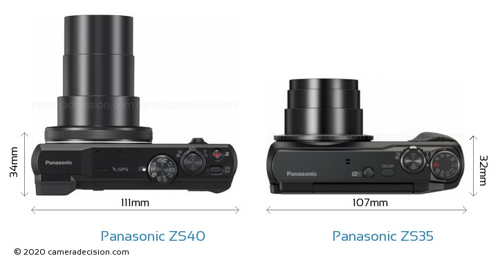 Panasonic ZS40 vs Panasonic ZS35 Camera Size Comparison - Top View
