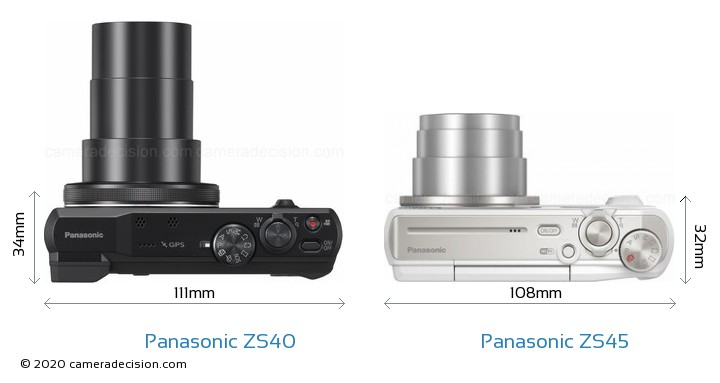 Panasonic ZS40 vs Panasonic ZS45 Camera Size Comparison - Top View
