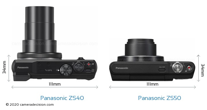 Panasonic ZS40 vs Panasonic ZS50 Camera Size Comparison - Top View