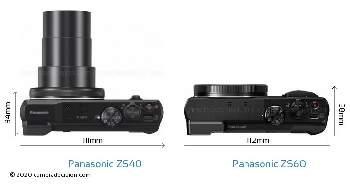 Panasonic ZS40 vs Panasonic ZS60 Camera Size Comparison - Top View